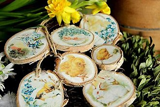 Dekorácie - Závesné dekoračné medailóniky Jarné - 13127211_