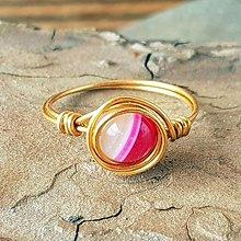 Prstene - Drôtikový prstienok (Ružový achát) - 13131718_