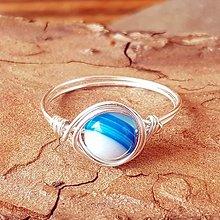 Prstene - Drôtikový prstienok (Modrý achát) - 13131721_