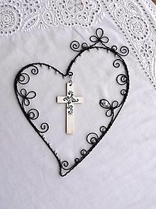 Dekorácie - srdce vyšité mladomanželom ...viera, láska, nádej... - 13129948_
