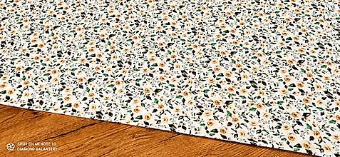 Textil - Úplet - Krémové ruže s lístkami - cena za 10 centimetrov - 13130321_