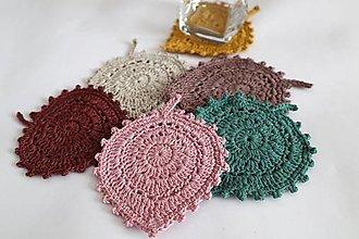 Úžitkový textil - Háčkované podšálky lístky - 13128576_
