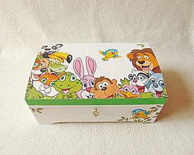 Krabičky - Drevená truhlička Veselé zvieratká - 13128101_