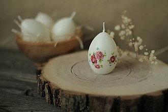 Svietidlá a sviečky - Veľkonočné zdobené vajíčko - sviečka (ružičky II.) - 13129656_