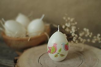 Svietidlá a sviečky - Veľkonočné zdobené vajíčko - sviečka (vtáčiky) - 13129660_