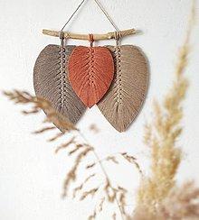 Dekorácie - Makramé závesná dekorácia FALL (svetlohnedá/terakota/tmavohnedá) - 13129570_