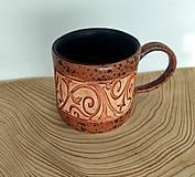Nádoby - Keramický hrnček na kávu- terakota s čiernou - 13130647_