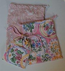 Úžitkový textil - Sada bavlnených vrecúšok (Ružové ornamenty) - 13130800_