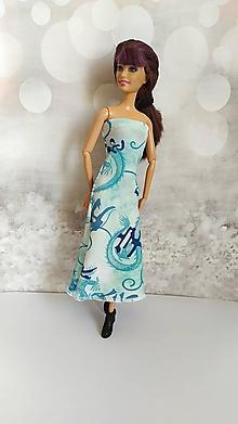 Hračky - Dlhé tyrkysové šaty s čínskym vzorom - 13129503_
