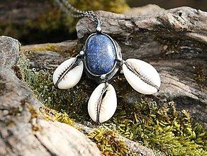 Náhrdelníky - Lapis lazuli s mušľami - 13133700_