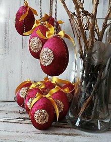 Dekorácie - Zamatové veľkonočné vajíčka - 13133291_