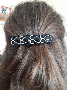 Ozdoby do vlasov - Šujtášová francúzska spona - čiernobiela - 13136513_