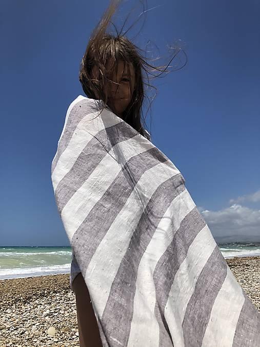 Úžitkový textil - Ľanová osuška - Greystripes - 13135654_