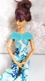 Hračky - Tyrkysový overal s čínskym vzorom pre Barbie - 13133934_