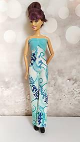 Hračky - Tyrkysový overal s čínskym vzorom pre Barbie - 13133938_