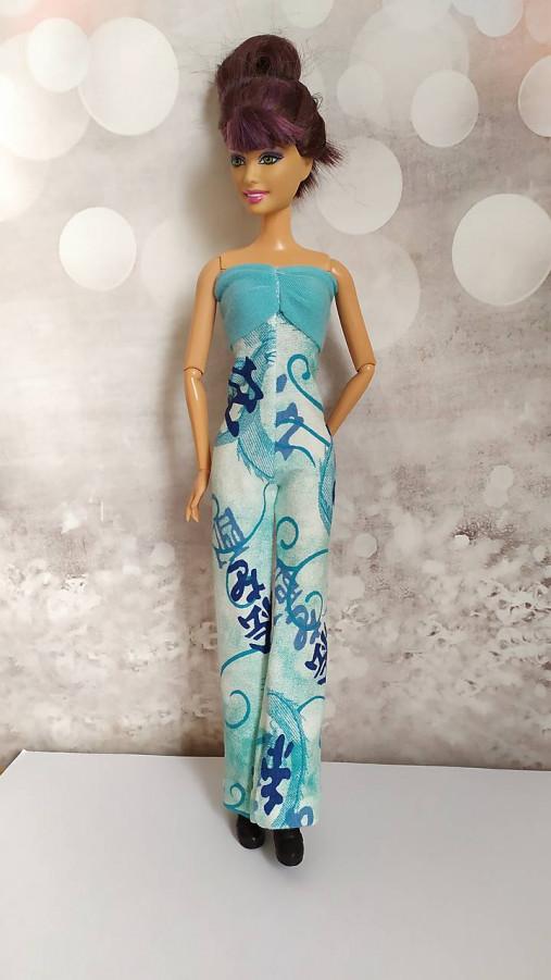 Tyrkysový overal s čínskym vzorom pre Barbie
