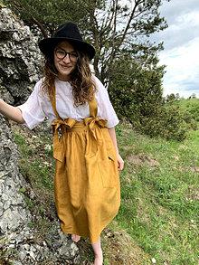 Sukne - Ľanová sukňa na traky - 13134791_