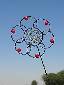 Dekorácie - červený kvet ... zápich - 13141045_