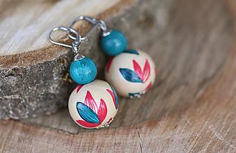 Náušnice - Náušnice - Turquoise Leaf.beads - 13138884_