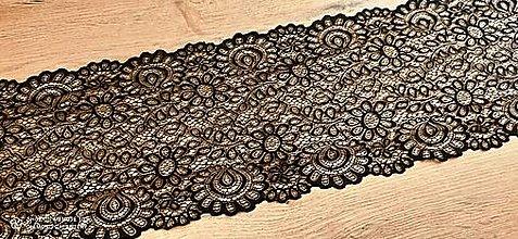 Galantéria - Krajka elastická 220 mm - Čierne kvety - 13139786_