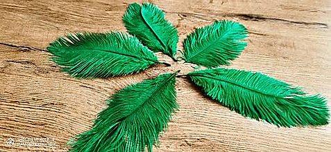 Galantéria - Pierko ozdobné Marabou - 15-20 cm (Zelená) - 13140024_