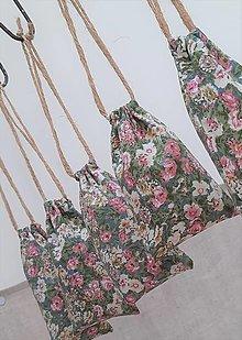 Úžitkový textil - Zaťahovacie vrecúška_ drobný kvietok - 13138018_