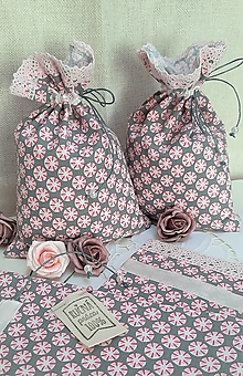 Úžitkový textil - Vrecúško_ sivá s ružovou - 13138595_