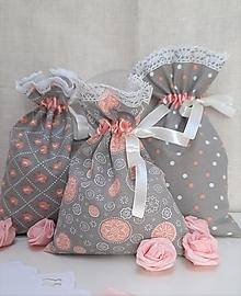 Úžitkový textil - Vrecúška _ lososová so sivou - 13138645_