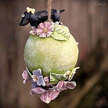 Dekorácie - Jazvečík - závesná dekorácia s kvetmi - 13141282_
