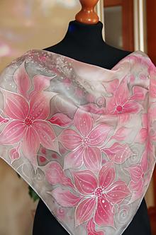 Šatky - Šedo-ružová hodvábna + GRÁTIS darčekové balenie... - 13138758_
