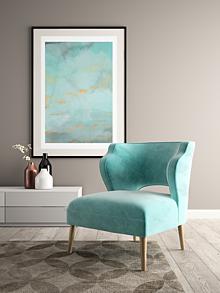 Grafika - Art Print-Plagát-Abstraktná modrá maľba so zlatými detailmi (A3) - 13138781_