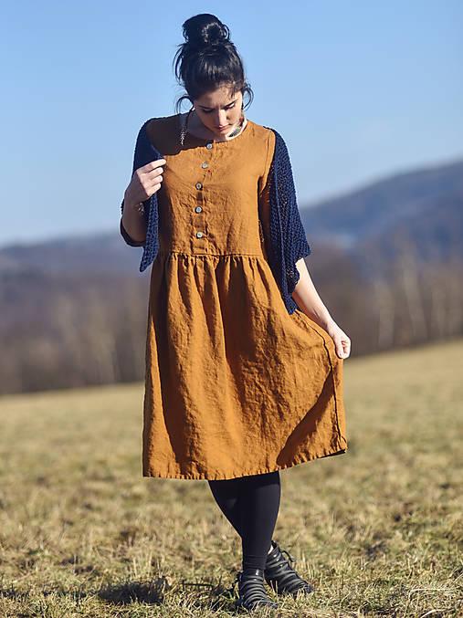 Šaty - Lněné šaty Okrové - 13141593_