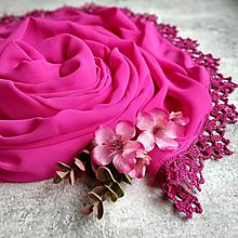 Šály - Živa - růžový šifónový šál s čipkou - 13142983_