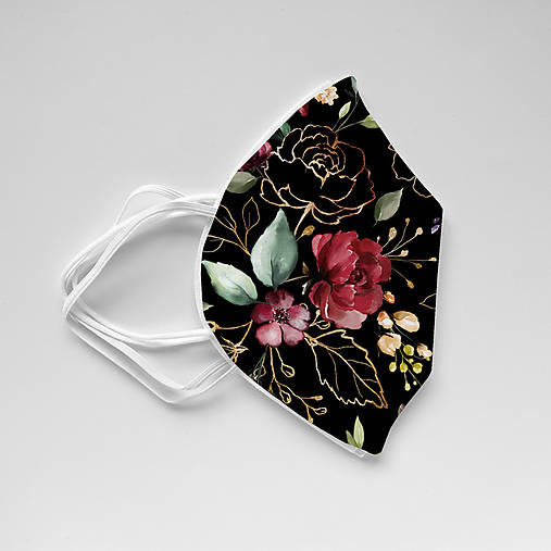 RESPIRÁTOR FFP2 s dizajnovým návlekom (Zlaté kvety čierne)