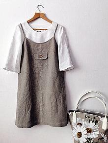 Šaty - Letné ľanové šaty na ramienka - 13142902_