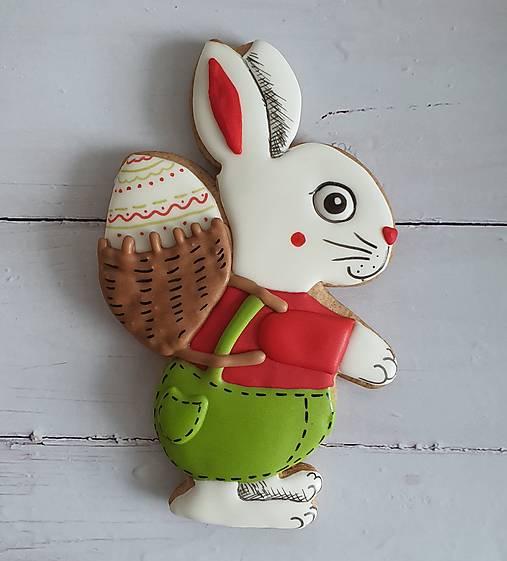 Dekorácie - Perníkový zajac MAXI (Biely) - 13143932_