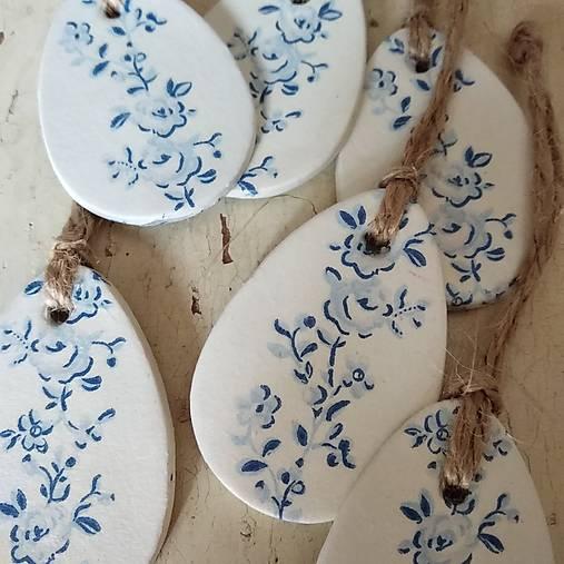 Dekorácie - Veľkonočné vajíčka modrotlač - 13142037_