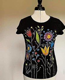 Tričká - Maľované tričko Folkie - čierna - 13150629_