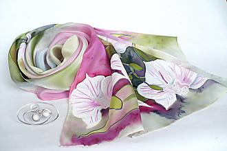 Šály - Bílé orchideje. Hedvabná šála se sponou. - 13149309_