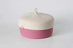 Košíky - Provazový košík růžový s pokličkou - 13151242_