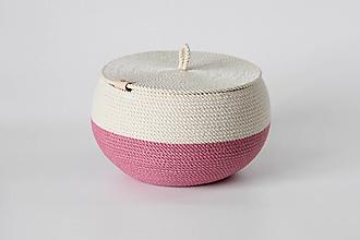 Košíky - Provazový košík růžový s pokličkou - 13151253_