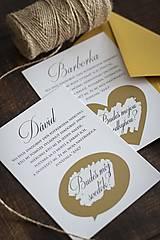 Papiernictvo - Stieracie pozvánky pre svedka/svedkyňu - Zlatá - 13150005_
