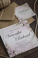 """Papiernictvo - Svadobné oznámenie """"Ružový kvet - štvorec """" (Pozvánka ku svadobnému stolu 8x8cm) - 13150048_"""