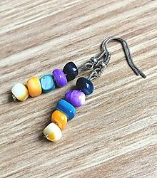 Náušnice - Náušnice zo zlomkov perlete, pestrofarebné - 13150244_