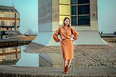 Šaty - Škoricový set – mikina a sukňa - 13148256_