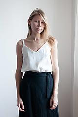 Topy - Linen 'V' top in white - 13147957_