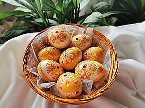 Dekorácie - Sada bielo-oranžových kraslíc - 13151157_