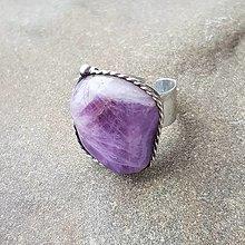 Prstene - Cínovaný prsteň - Ametyst (I.) - 13154166_