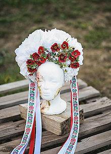 Ozdoby do vlasov - Folk XXL svadobná parta z pivónii  - 13156030_