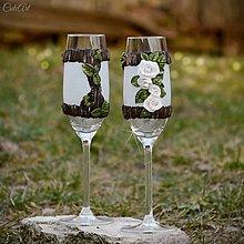 Nádoby - Spoločná cesta lesom Ruže - svadobné poháre, sada 2 ks - 13154796_
